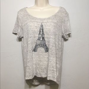 Cynthia Rowley Gray Eiffel Tower Linen Hi Lo Top